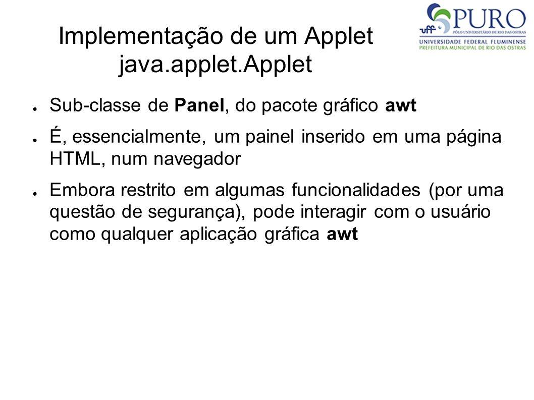 Implementação de um Applet java.applet.Applet