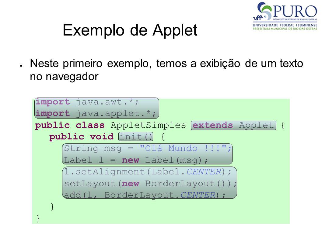 Exemplo de Applet Neste primeiro exemplo, temos a exibição de um texto no navegador. import java.awt.*;