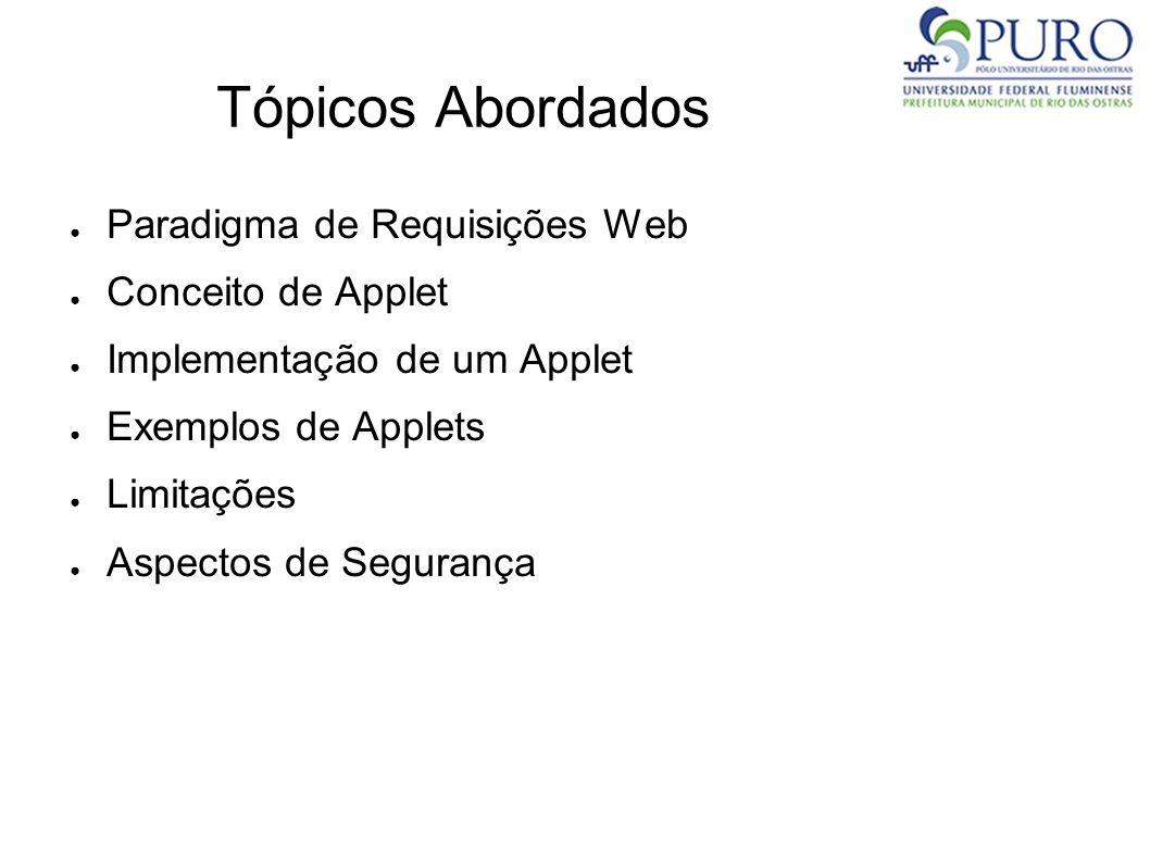 Tópicos Abordados Paradigma de Requisições Web Conceito de Applet