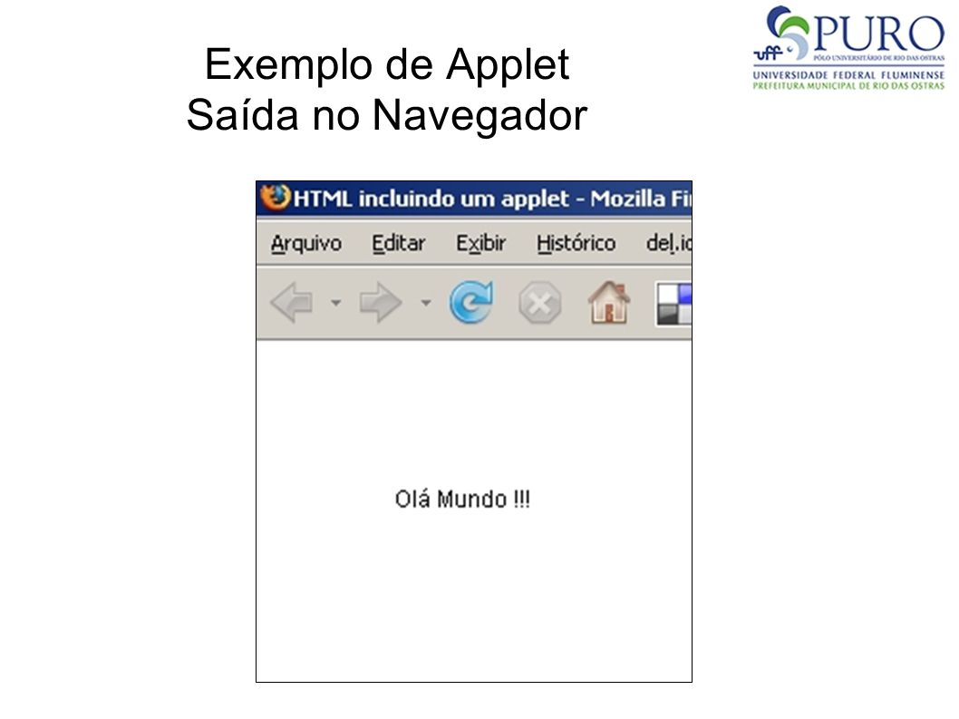Exemplo de Applet Saída no Navegador