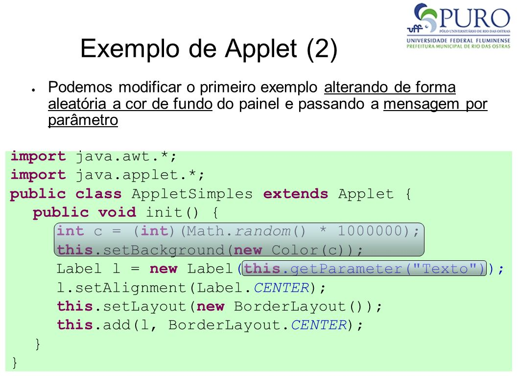 Exemplo de Applet (2)