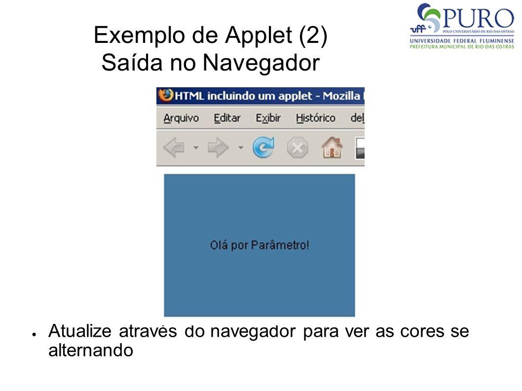 Exemplo de Applet (2) Saída no Navegador