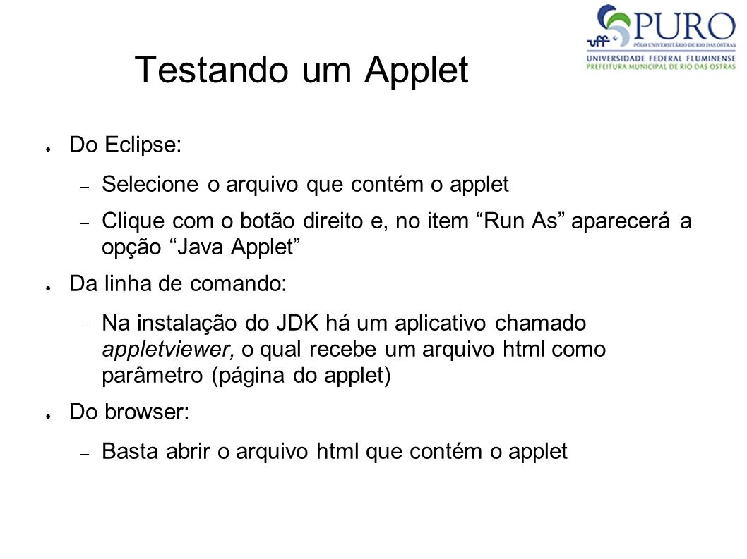 Testando um Applet Do Eclipse: Selecione o arquivo que contém o applet