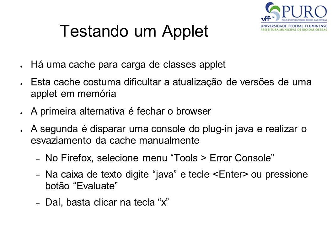 Testando um Applet Há uma cache para carga de classes applet