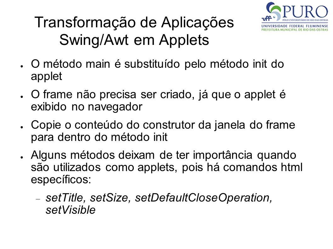 Transformação de Aplicações Swing/Awt em Applets