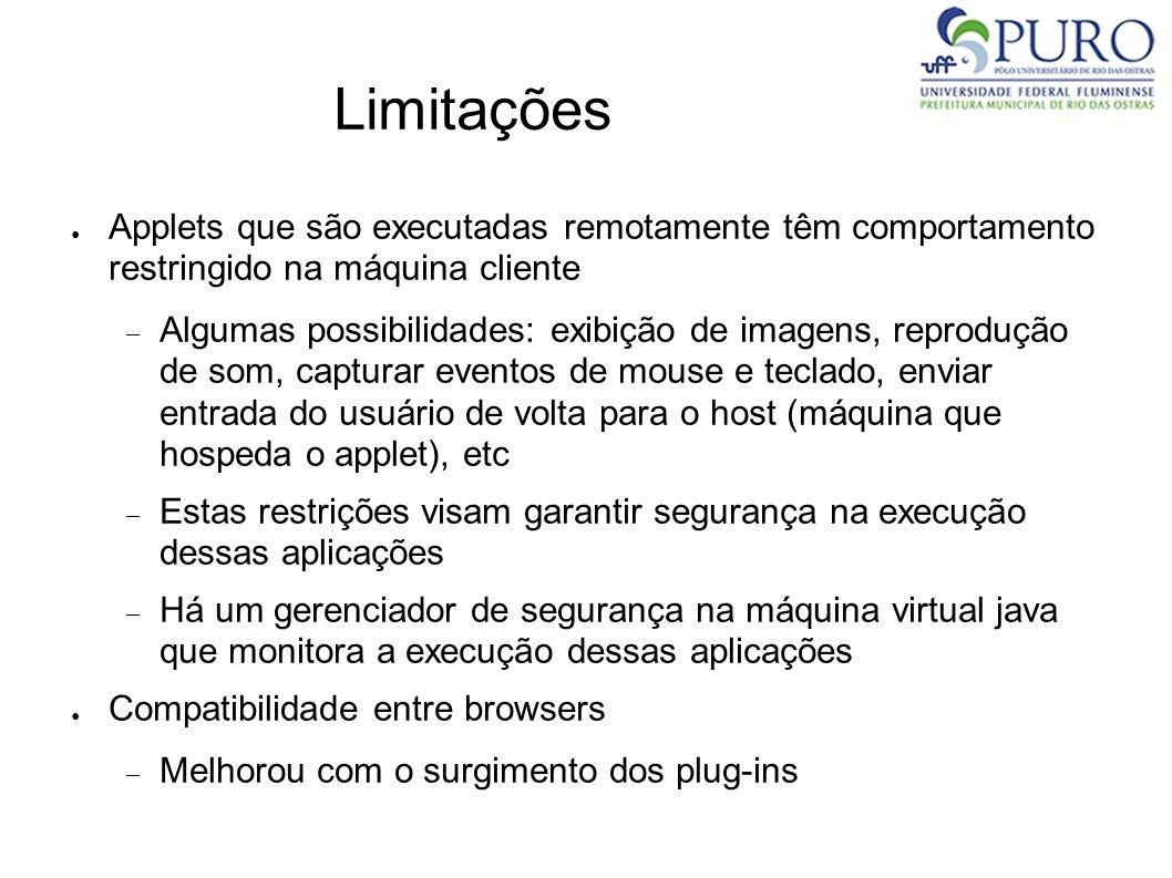 Limitações Applets que são executadas remotamente têm comportamento restringido na máquina cliente.