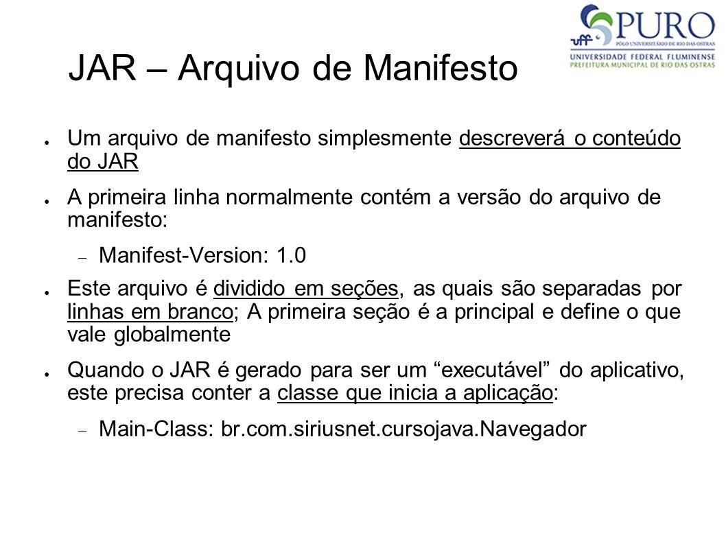 JAR – Arquivo de Manifesto