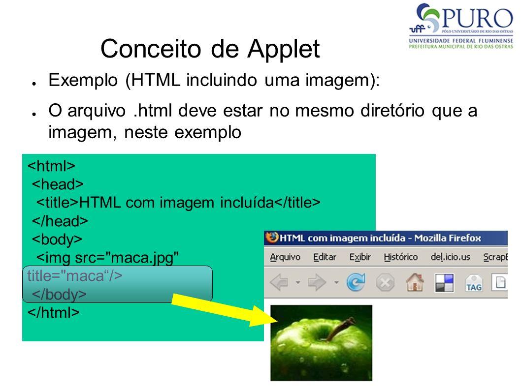 Conceito de Applet Exemplo (HTML incluindo uma imagem):
