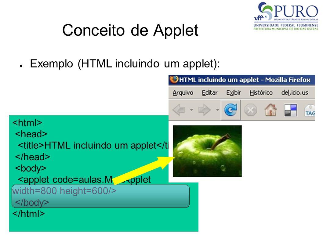 Conceito de Applet Exemplo (HTML incluindo um applet): <html>