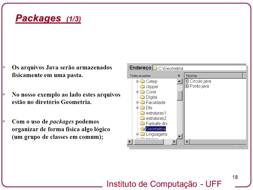 Packages (1/3) Os arquivos Java serão armazenados fisicamente em uma pasta. No nosso exemplo ao lado estes arquivos estão no diretório Geometria.