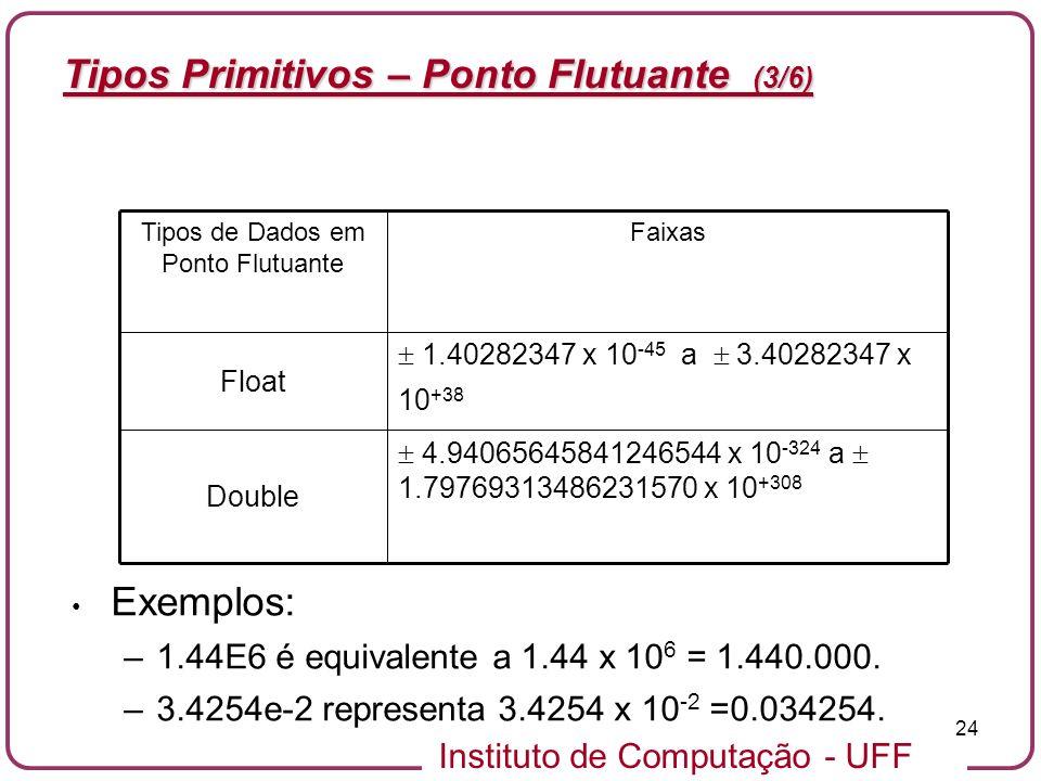 Tipos de Dados em Ponto Flutuante