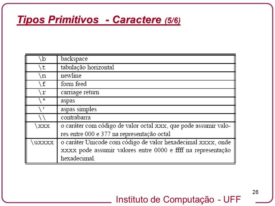 Tipos Primitivos - Caractere (5/6)