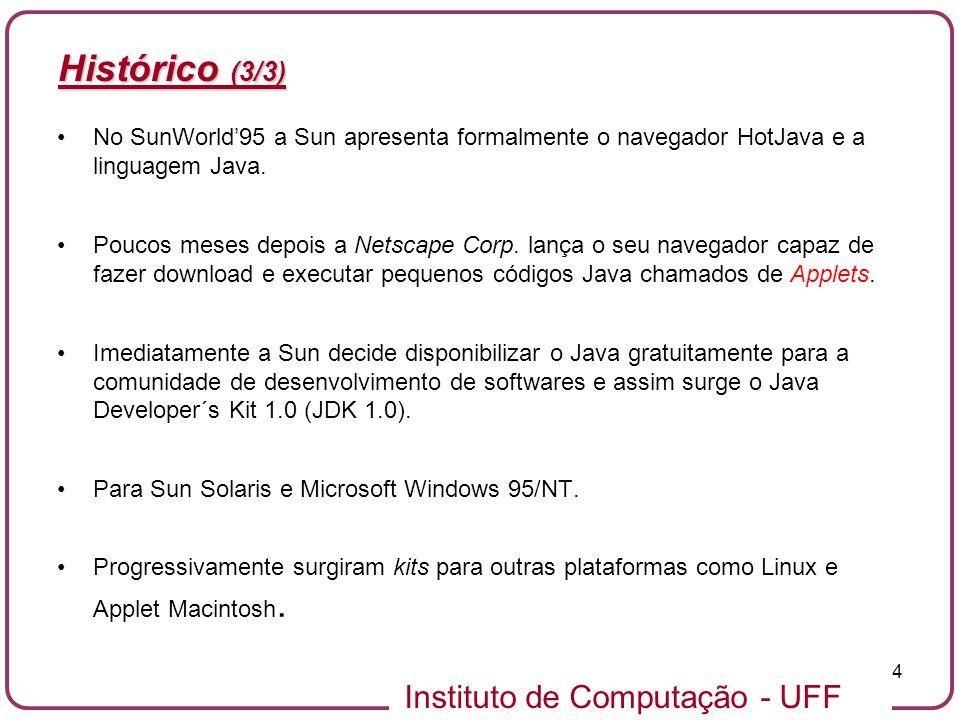 Histórico (3/3)No SunWorld'95 a Sun apresenta formalmente o navegador HotJava e a linguagem Java.