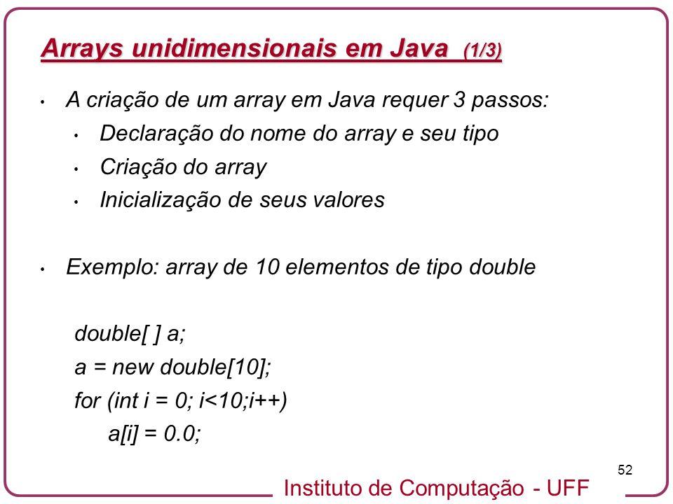 Arrays unidimensionais em Java (1/3)