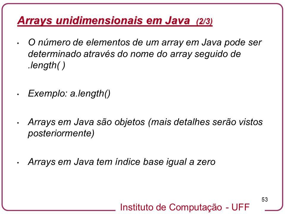 Arrays unidimensionais em Java (2/3)