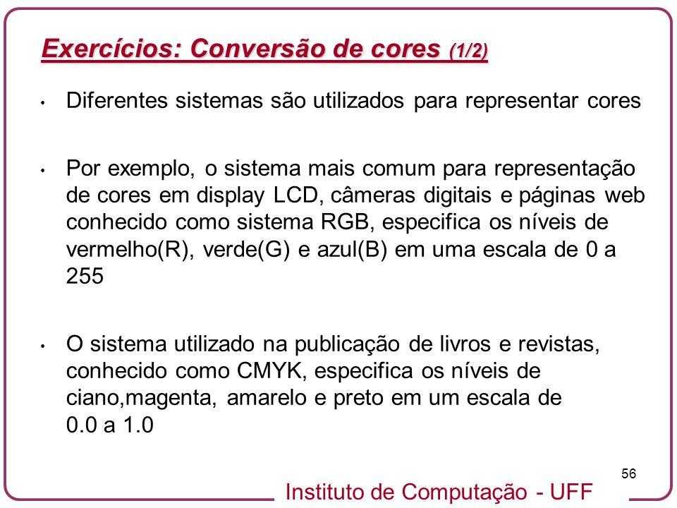 Exercícios: Conversão de cores (1/2)