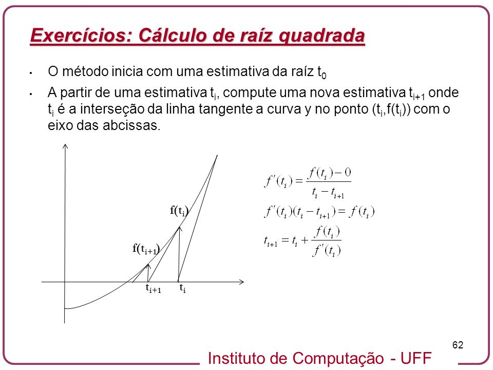 Exercícios: Cálculo de raíz quadrada