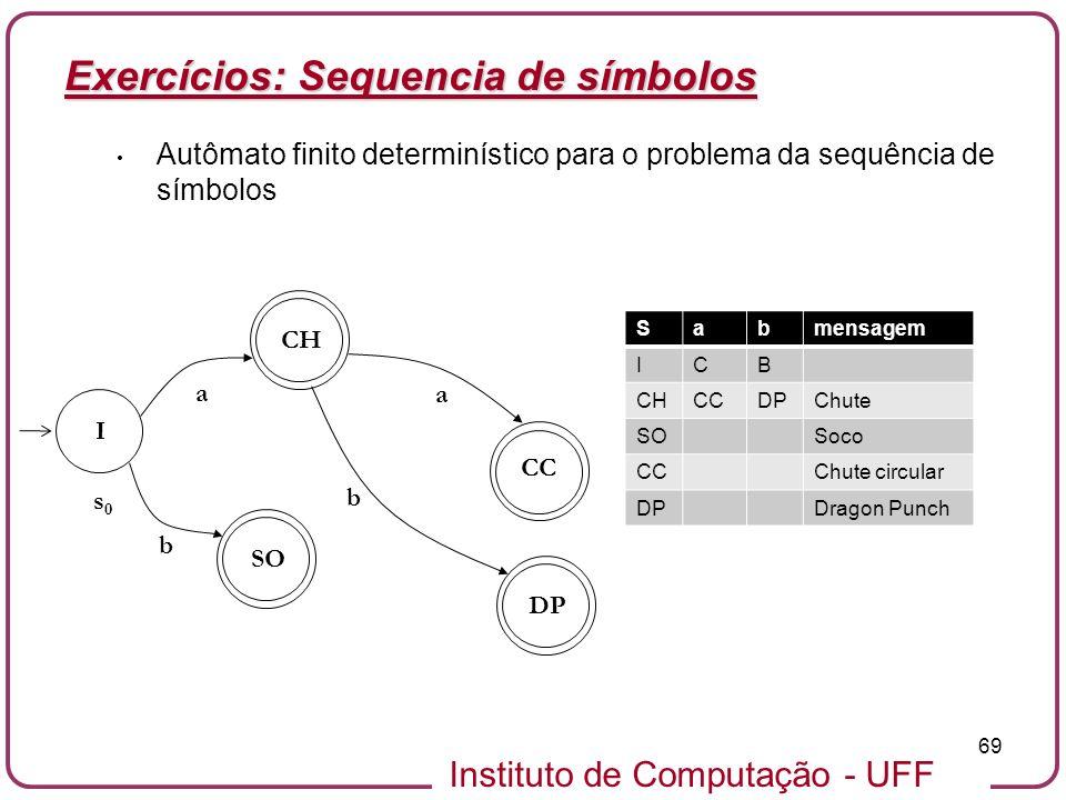 Exercícios: Sequencia de símbolos