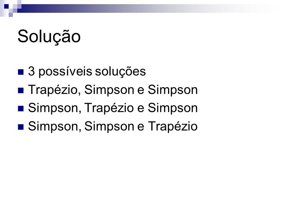 Solução 3 possíveis soluções Trapézio, Simpson e Simpson