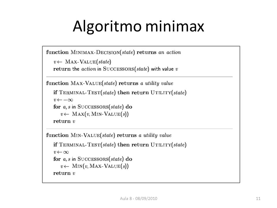 Algoritmo minimax Aula 8 - 08/09/2010