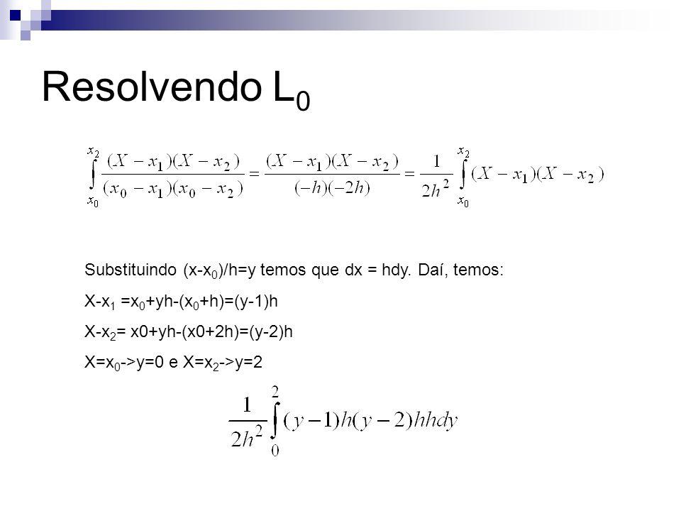 Resolvendo L0 Substituindo (x-x0)/h=y temos que dx = hdy. Daí, temos: