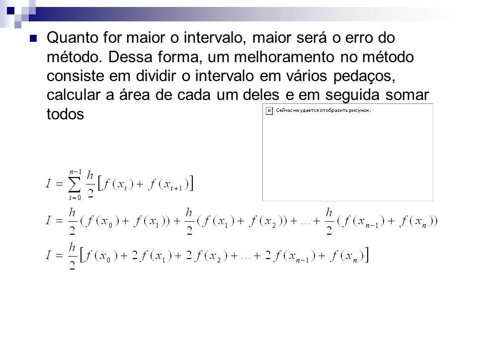 Quanto for maior o intervalo, maior será o erro do método