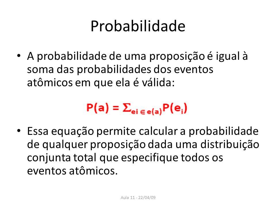 ProbabilidadeA probabilidade de uma proposição é igual à soma das probabilidades dos eventos atômicos em que ela é válida: