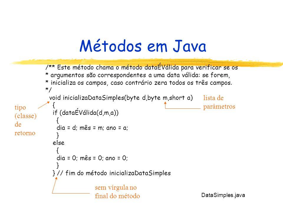 Métodos em Java lista de parâmetros tipo (classe) de retorno