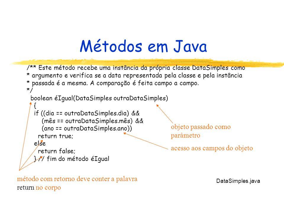 Métodos em Java objeto passado como parâmetro