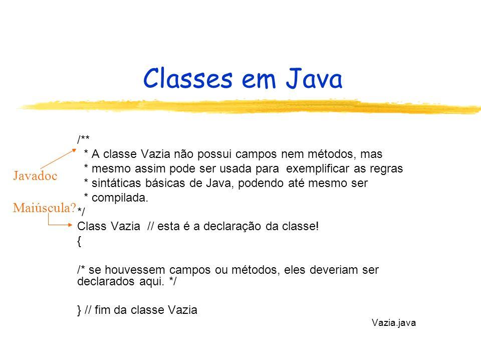 Classes em Java Javadoc Maiúscula /**