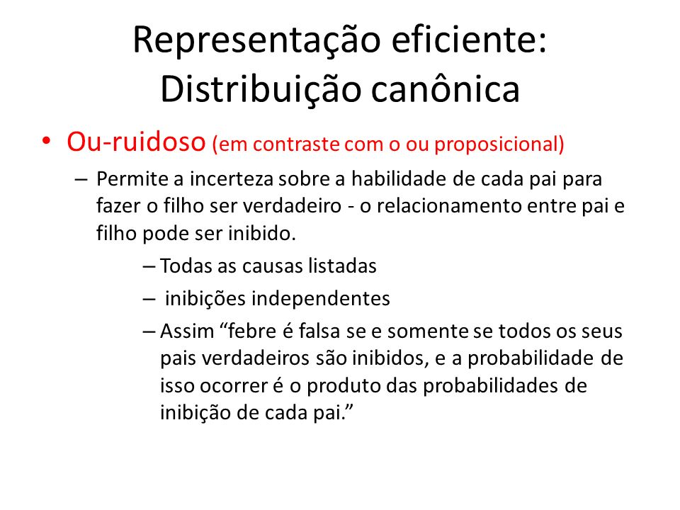 Representação eficiente: Distribuição canônica