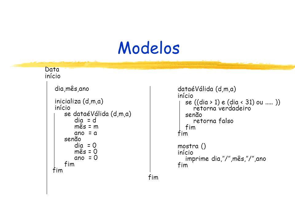 Modelos Data início dia,mês,ano inicializa (d,m,a) dataéVálida (d,m,a)