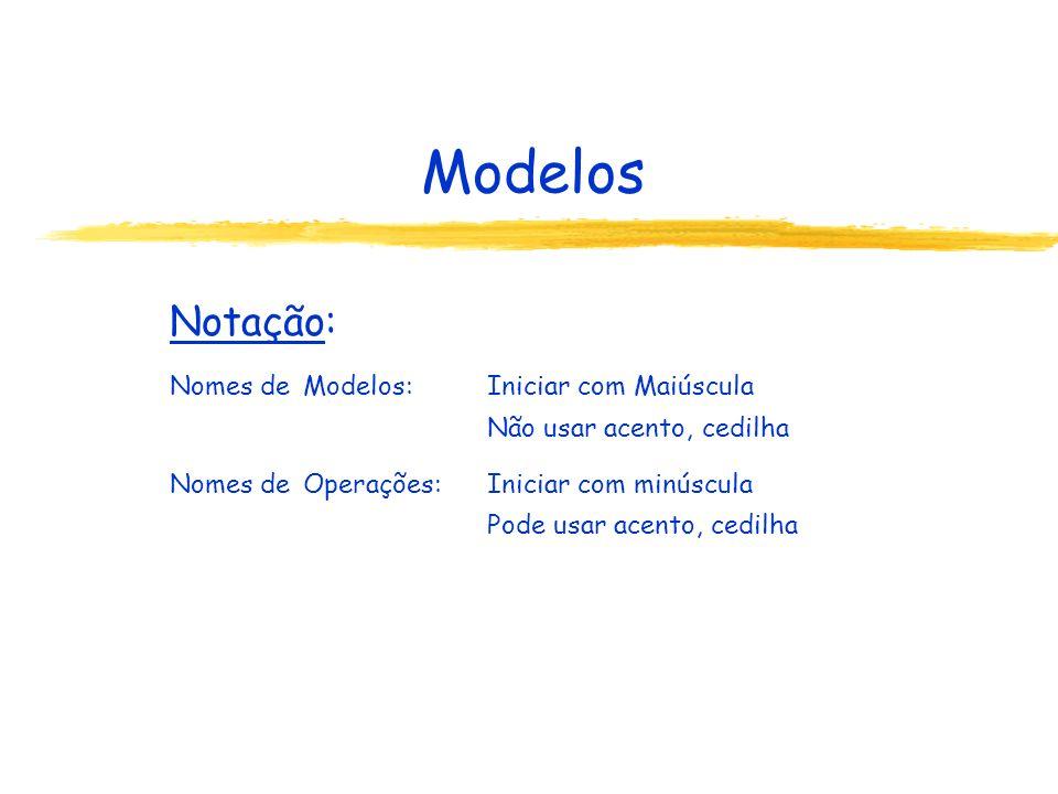 Modelos Notação: Nomes de Modelos: Iniciar com Maiúscula
