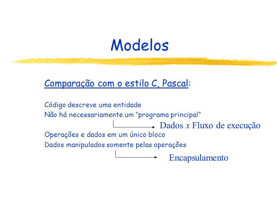 Modelos Comparação com o estilo C, Pascal: Dados x Fluxo de execução