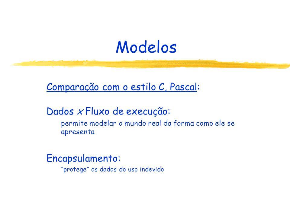 Modelos Comparação com o estilo C, Pascal: Dados x Fluxo de execução:
