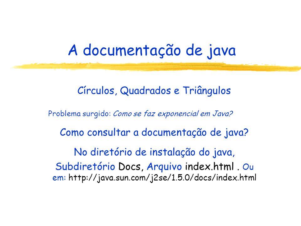 A documentação de java Círculos, Quadrados e Triângulos