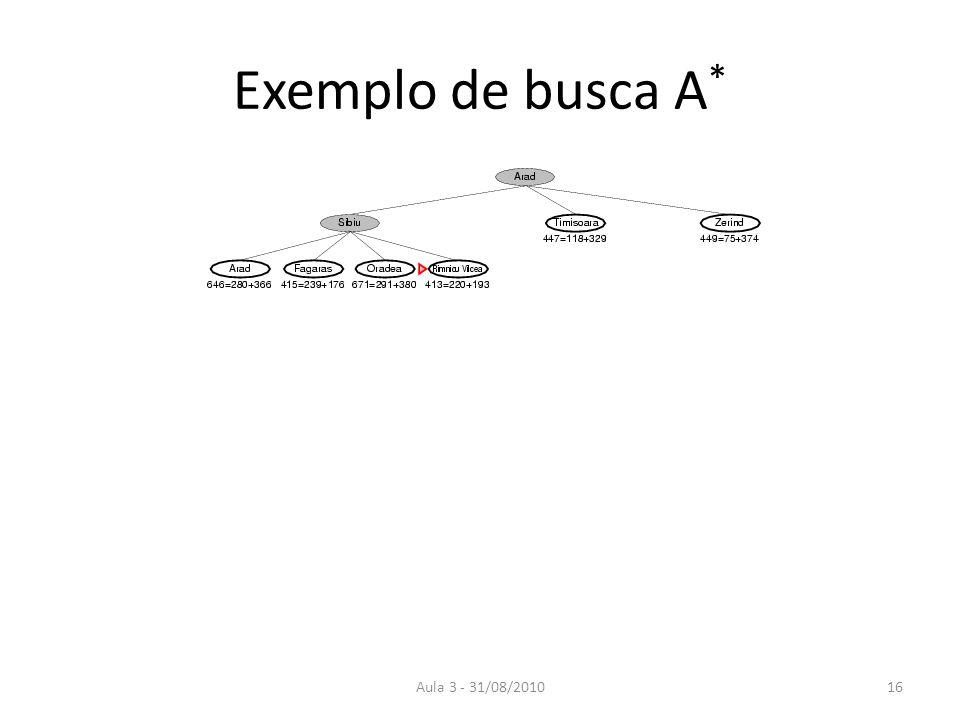 Exemplo de busca A* Aula 3 - 31/08/2010