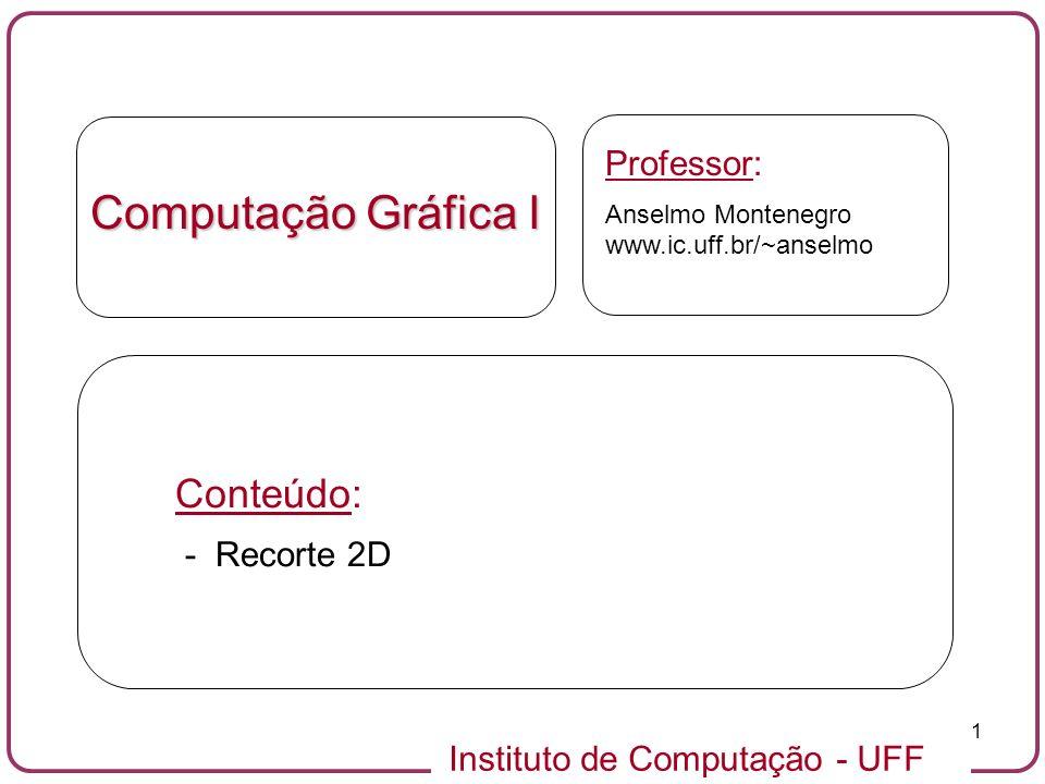 Computação Gráfica I Conteúdo: Professor: - Recorte 2D