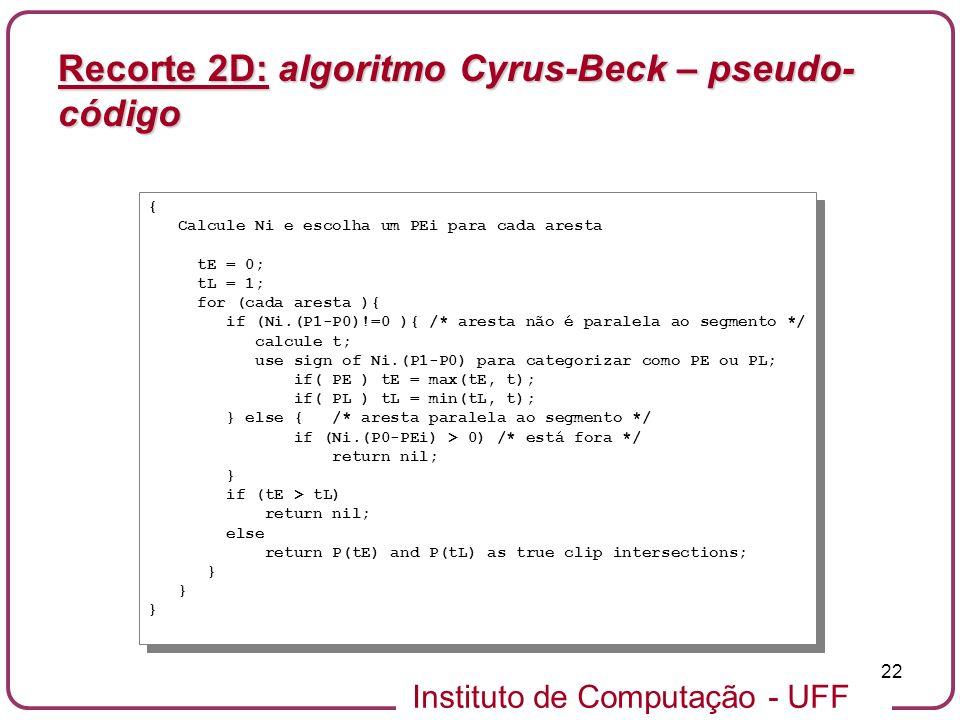 Recorte 2D: algoritmo Cyrus-Beck – pseudo-código