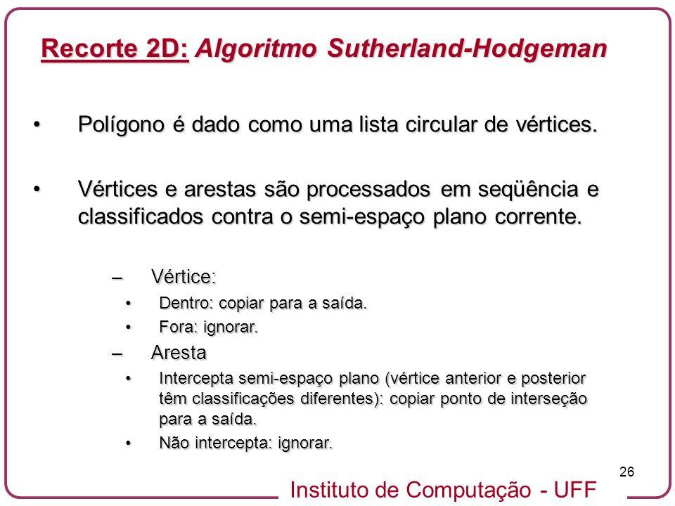 Recorte 2D: Algoritmo Sutherland-Hodgeman