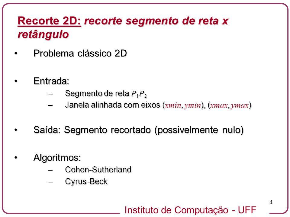 Recorte 2D: recorte segmento de reta x retângulo