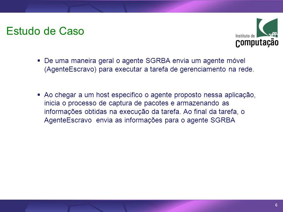 Estudo de Caso De uma maneira geral o agente SGRBA envia um agente móvel (AgenteEscravo) para executar a tarefa de gerenciamento na rede.