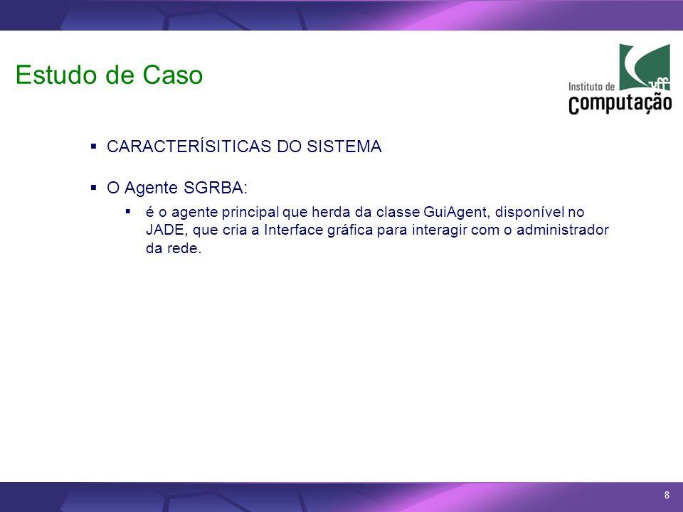Estudo de Caso CARACTERÍSITICAS DO SISTEMA O Agente SGRBA: