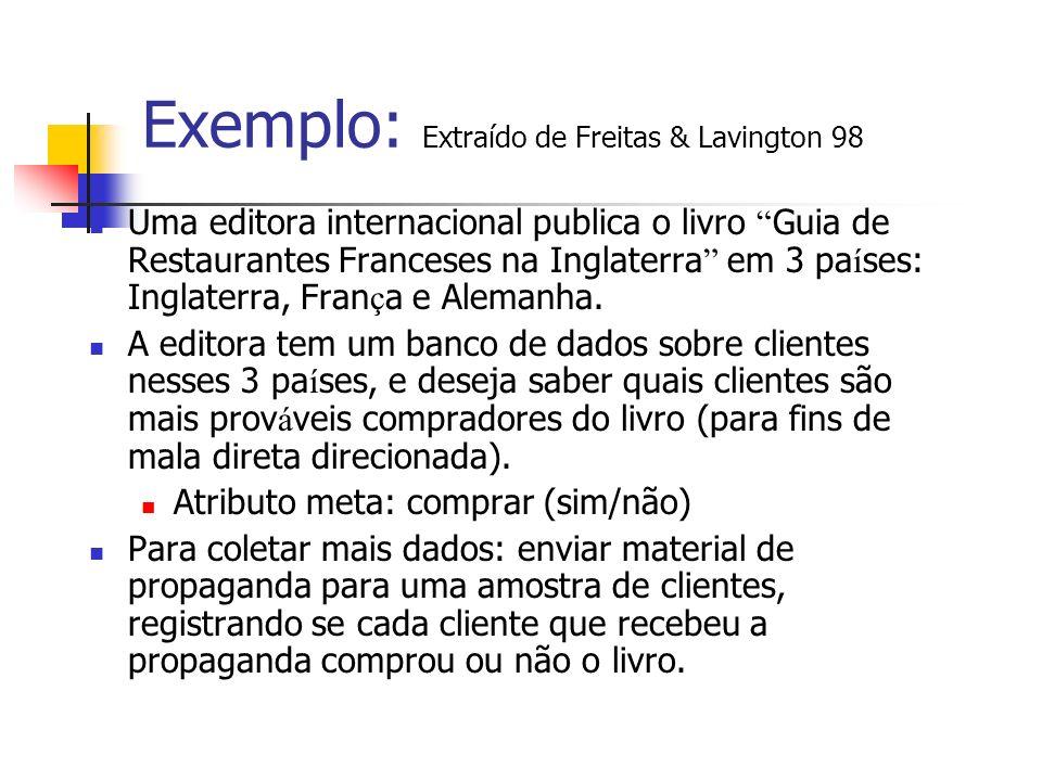 Exemplo: Extraído de Freitas & Lavington 98