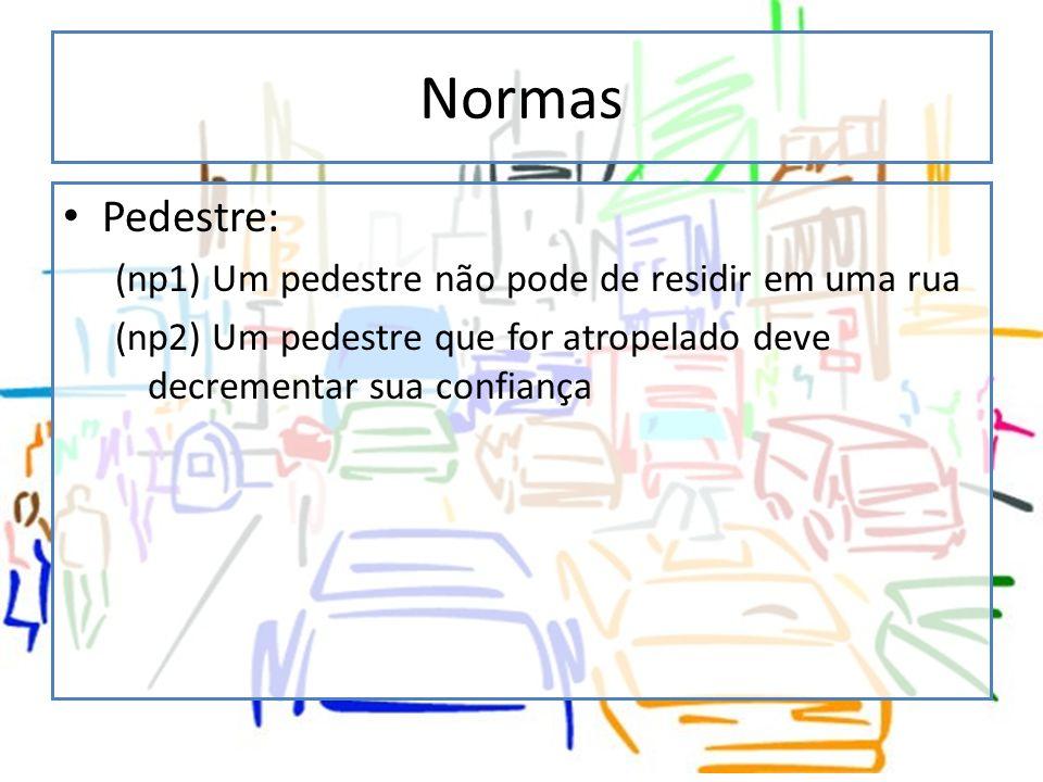 Normas Pedestre: (np1) Um pedestre não pode de residir em uma rua
