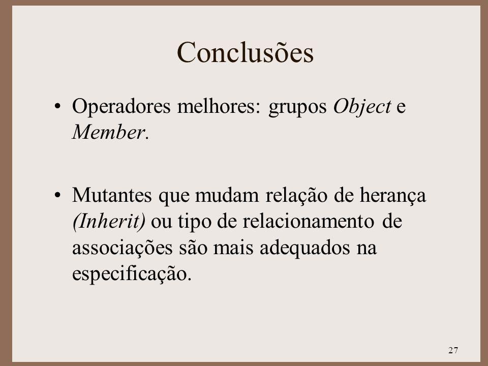 Conclusões Operadores melhores: grupos Object e Member.