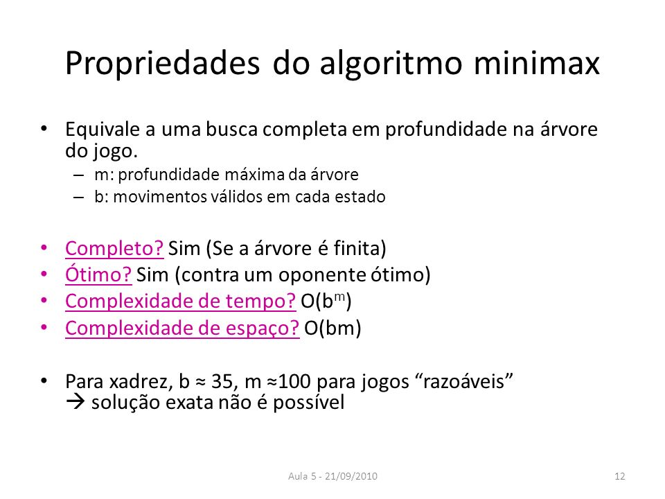 Propriedades do algoritmo minimax