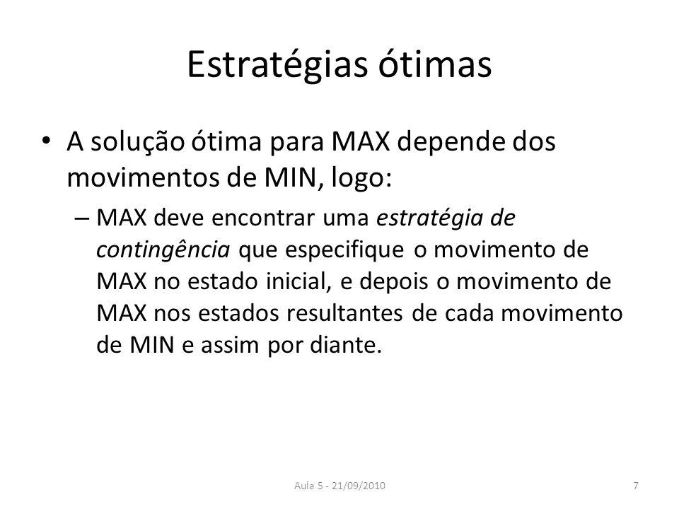 Estratégias ótimas A solução ótima para MAX depende dos movimentos de MIN, logo: