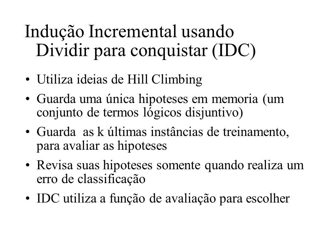 Indução Incremental usando Dividir para conquistar (IDC)