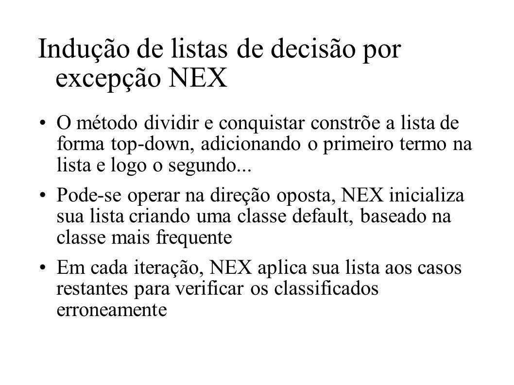 Indução de listas de decisão por excepção NEX